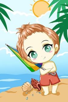 Netter kleiner junge mit regenschirm im strand in der sommerdesigncharakterkarikaturillustration