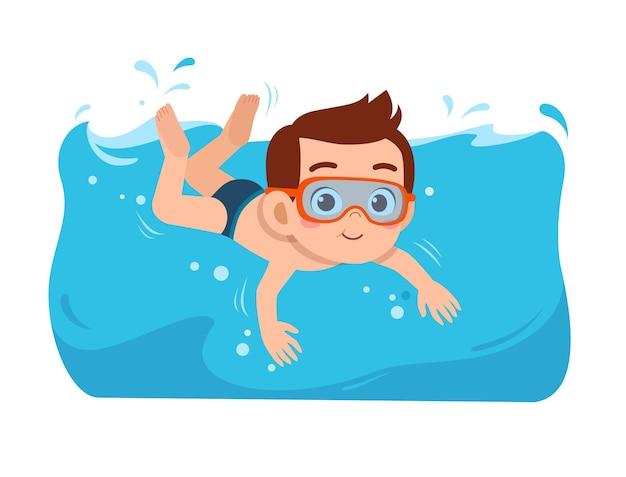 Netter kleiner junge schwimmt im sommerurlaub unter wasser