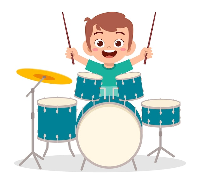 Netter kleiner junge spielen trommel im konzert