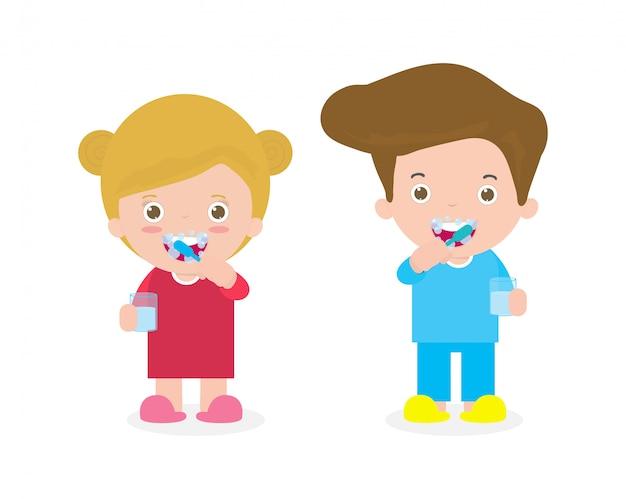 Netter kleiner junge und mädchen, die zähne putzen, lustige karikatur isolierte illustration
