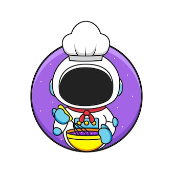 Netter kleiner kochastronaut trägt hut