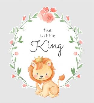 Netter kleiner könig in der blumenrahmenillustration