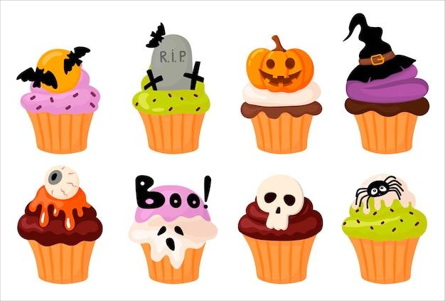 Netter kleiner kuchen halloween. cartoon-stil