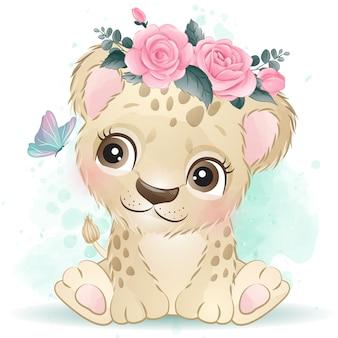 Netter kleiner leopard mit aquarelleffekt