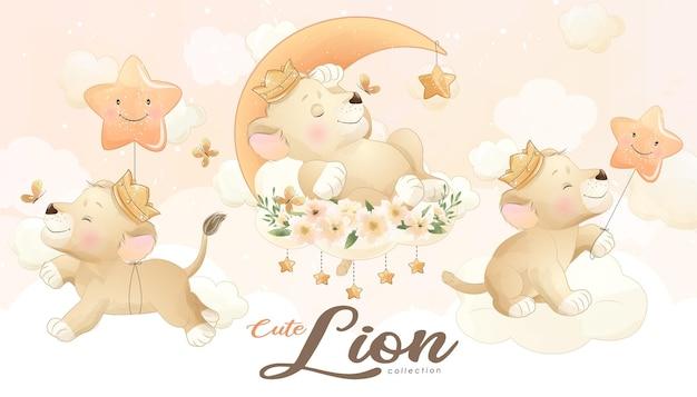 Netter kleiner löwe mit aquarellillustrationssatz
