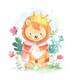 Netter kleiner löwe mit goldener kronenillustration