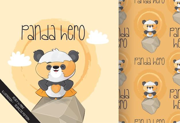 Netter kleiner panda-heldencharakter mit gelber maske und nahtlosem muster