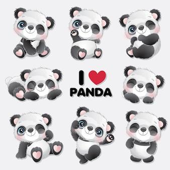 Netter kleiner panda mit aquarellsammlung