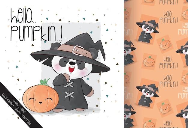 Netter kleiner panda mit kürbis glückliches halloween mit nahtlosem muster
