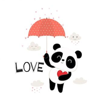 Netter kleiner panda mit rotem regenschirm.