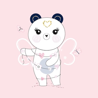 Netter kleiner panda mit schmetterlingsflügeln und girlande von herzen. trendige pastellfarben.