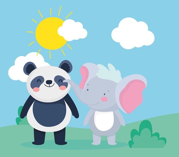 Netter kleiner panda und elefantensonnenkarikatur