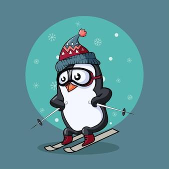 Netter kleiner pinguin beim skifahren in winterkleidung