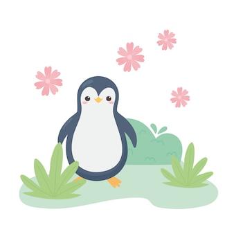 Netter kleiner pinguin blüht graskarikaturtiervektorillustration