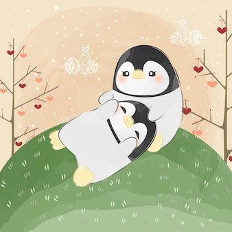 Netter kleiner pinguin, der auf anderen pinguin legt