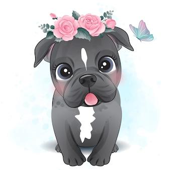Netter kleiner pitbull mit blumenillustration