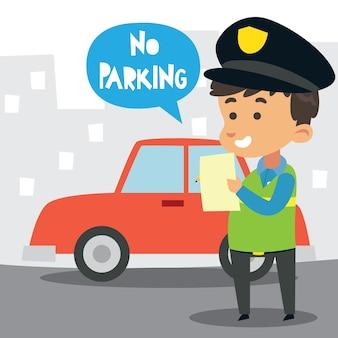 Netter kleiner polizeibeamte, der eine parkverbotsanmerkung schreibt