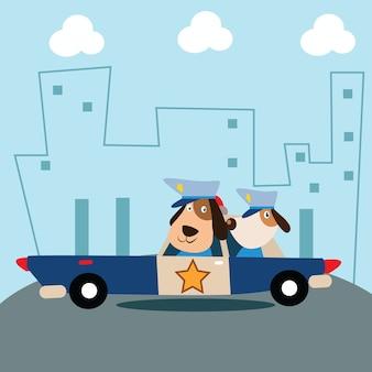 Netter kleiner polizeihund in seinem streifenwagen