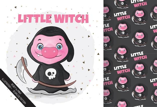Netter kleiner schwein-hexe-charakter glücklicher halloween-karikatur netter schwein-charakter in halloween