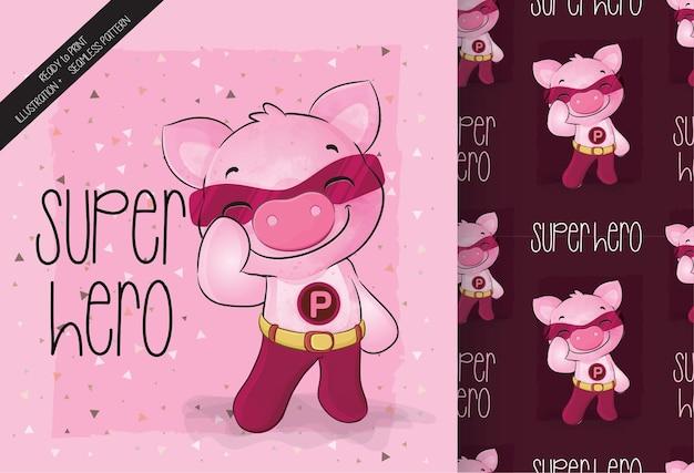 Netter kleiner schwein-superheldencharakter mit nahtlosem muster seamless