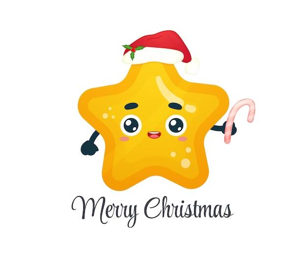 Netter kleiner stern, der zuckerstange mit weihnachtsmütze für frohe weihnachten hält premium-vektor