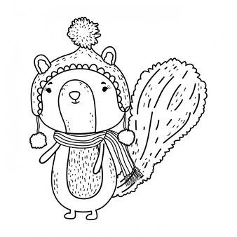 Netter kleiner streifenhörnchen mit mütze und schal
