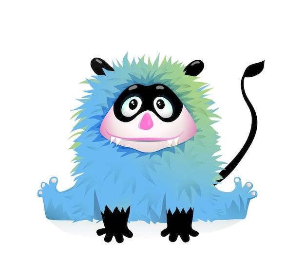 Netter kleiner teufelskarikatur für kinderfreundliches monster, das lächelnd schwarze maske und schwanz tragend sitzt.