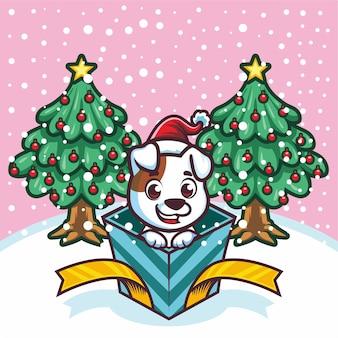 Netter kleiner tiger aus der geschenkbox an weihnachten