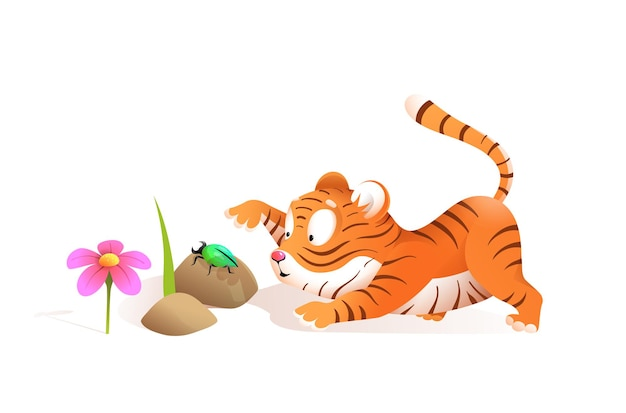Netter kleiner tiger, der mit käfer im dschungel spielt, lustige illustration für kinder. kindertigerjungeskarikatur im aquarellstil.