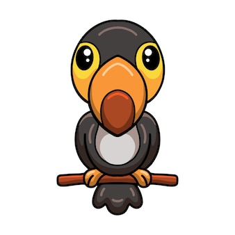 Netter kleiner tukan-cartoon auf ast