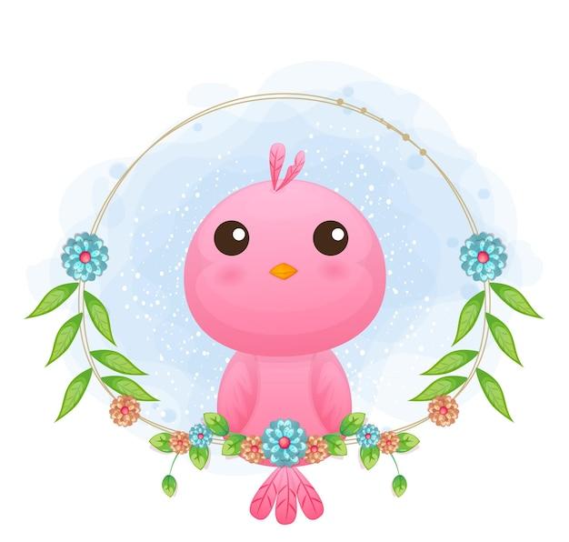 Netter kleiner vogel mit blumenkarikaturillustration.