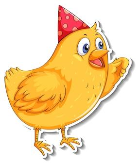 Netter kleiner vogel mit partyhut-cartoon-tieraufkleber