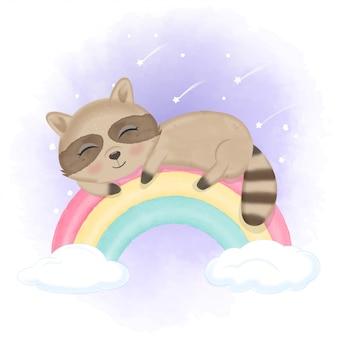 Netter kleiner waschbär, der auf dem regenbogen schläft