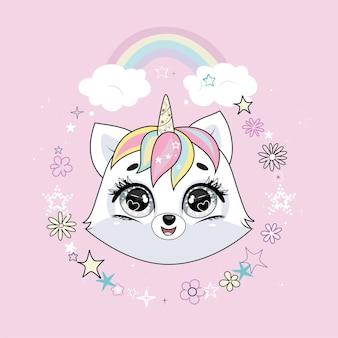 Netter kleiner weißer katzeneinhorn- oder caticornkopf im runden rahmen mit blumen und sternen und mit regenbogen. pastellweiche farben.