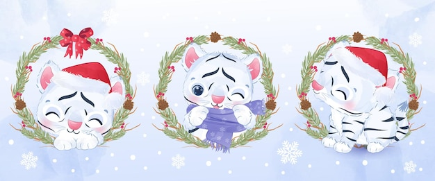 Netter kleiner weißer tiger für weihnachtsillustration