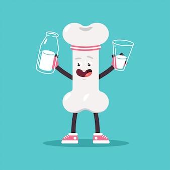 Netter knochen mit milch in flasche und glas. vektorkarikatur menschliches inneres organcharakter isoliert.