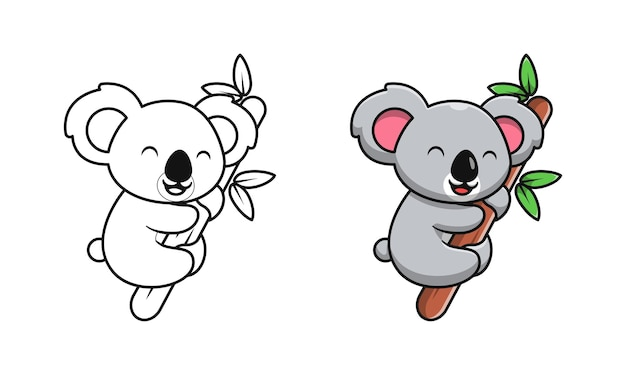 Netter koala auf holzkarikatur-malvorlagen für kinder