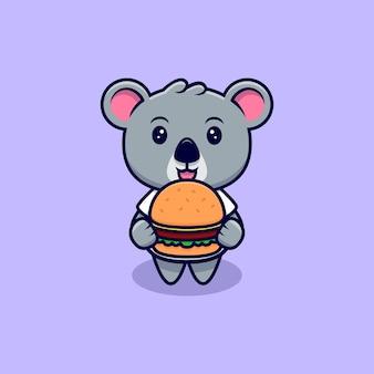Netter koala bringen sie einen burger maskottchen cartoon