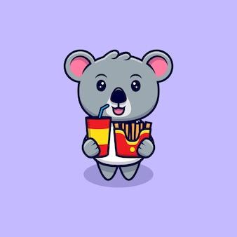 Netter koala bringen sie pommes frites und soda maskottchen cartoon