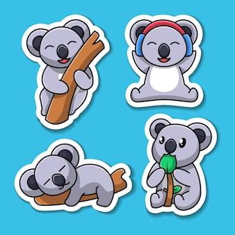 Netter koala cartoon charakter illustration aufkleber set