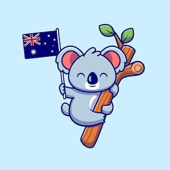Netter koala, der auf baum hängt und australische flaggenkarikatur-symbolillustration hält. tier-natur-symbol-konzept isoliert. flacher cartoon-stil