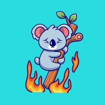 Netter koala, der auf brennendem baum-karikatur hängt. tier-natur-symbol-konzept isoliert. flacher cartoon-stil