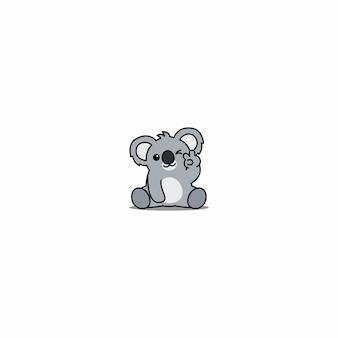 Netter koala, der augenkarikatur blinzelt