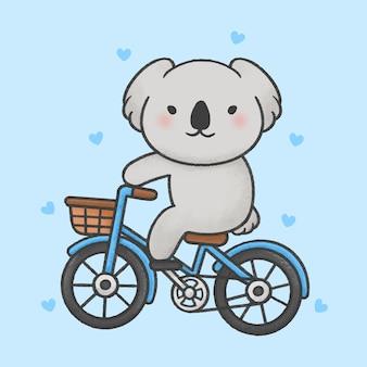 Netter koala, der eine gezeichnete art der fahrradkarikatur hand fährt