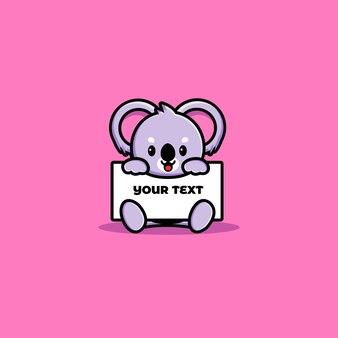 Netter koala, der eine leere texttafel hält