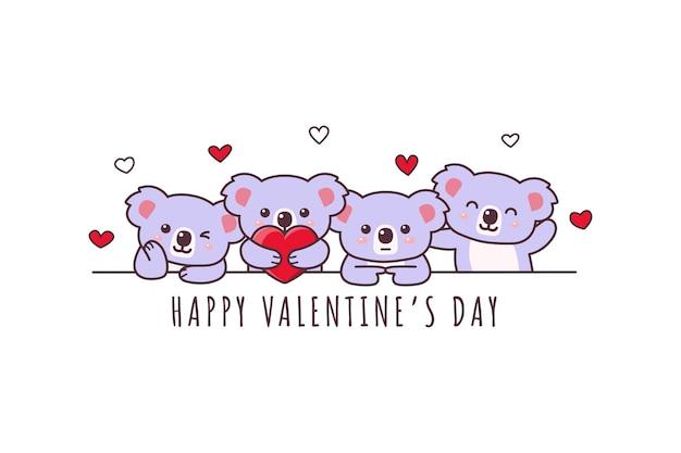 Netter koala, der glückliches valentinstag-gekritzel zeichnet