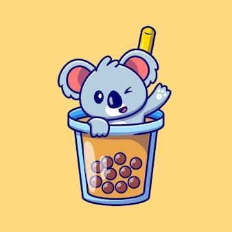 Netter koala, der im boba milk tea cup cartoon winkt