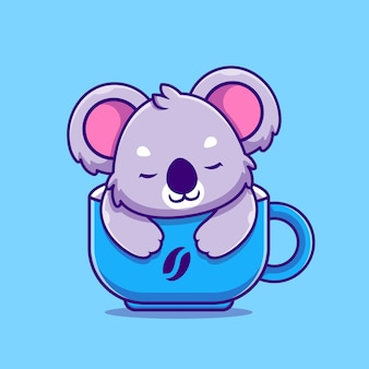 Netter koala, der in der tasse cartoon icon illustration schläft. tierfutter-symbol-konzept isoliert. flacher cartoon-stil