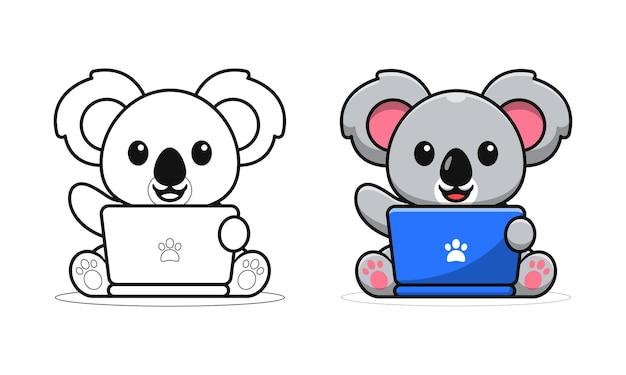 Netter koala, der laptop-cartoon-malvorlagen für kinder spielt