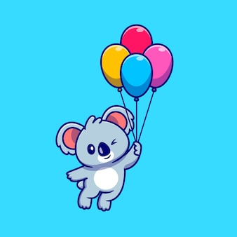Netter koala, der mit ballon-karikatur-symbol-illustration schwimmt. tier-natur-symbol-konzept isoliert. flacher cartoon-stil